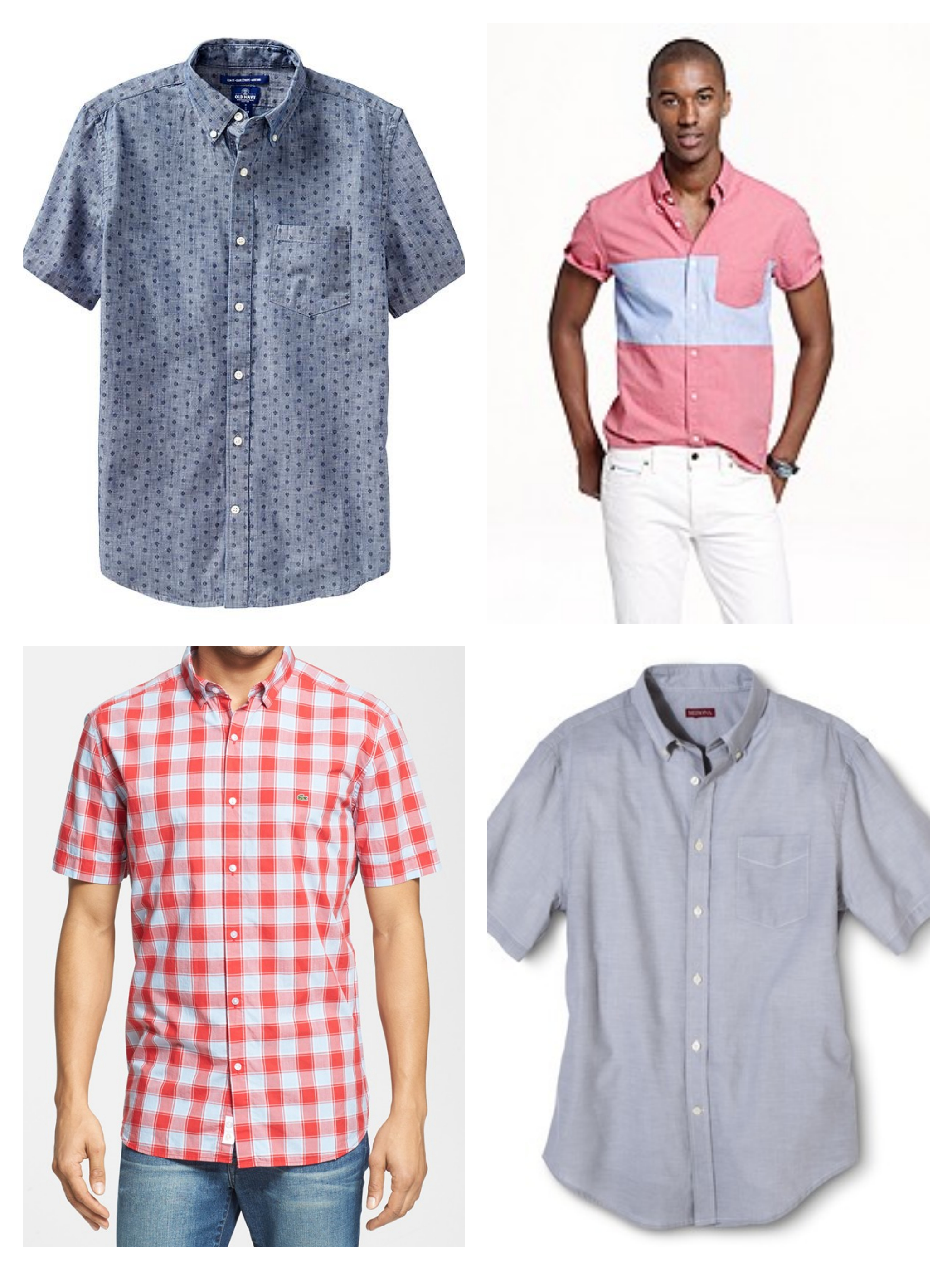 short sleeve button up collage