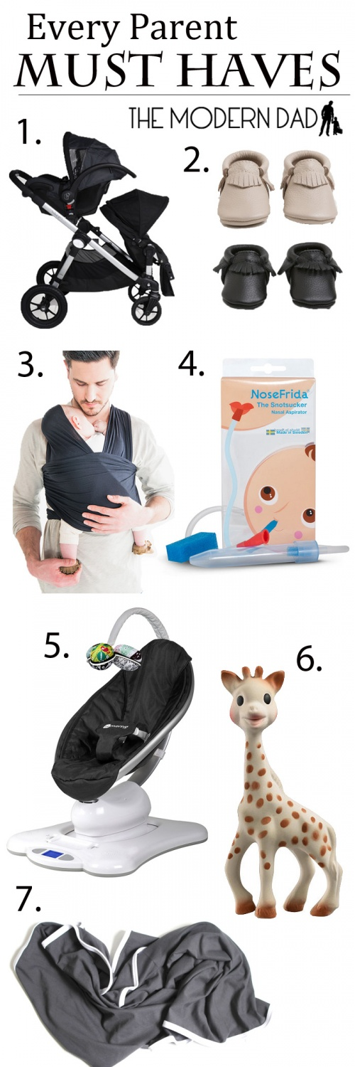 Every Parent Must Haves | The Modern Dad City Select - Freshly Picked - Solly Baby - Nose Frida - mamaRoo - Sofie Giraffe - June and January