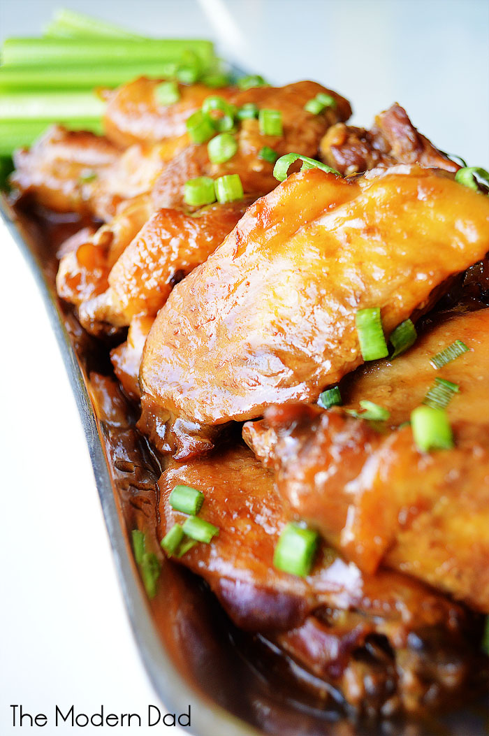 Slow Cooker Honey Garlic Glazed Wings | The Modern Dad