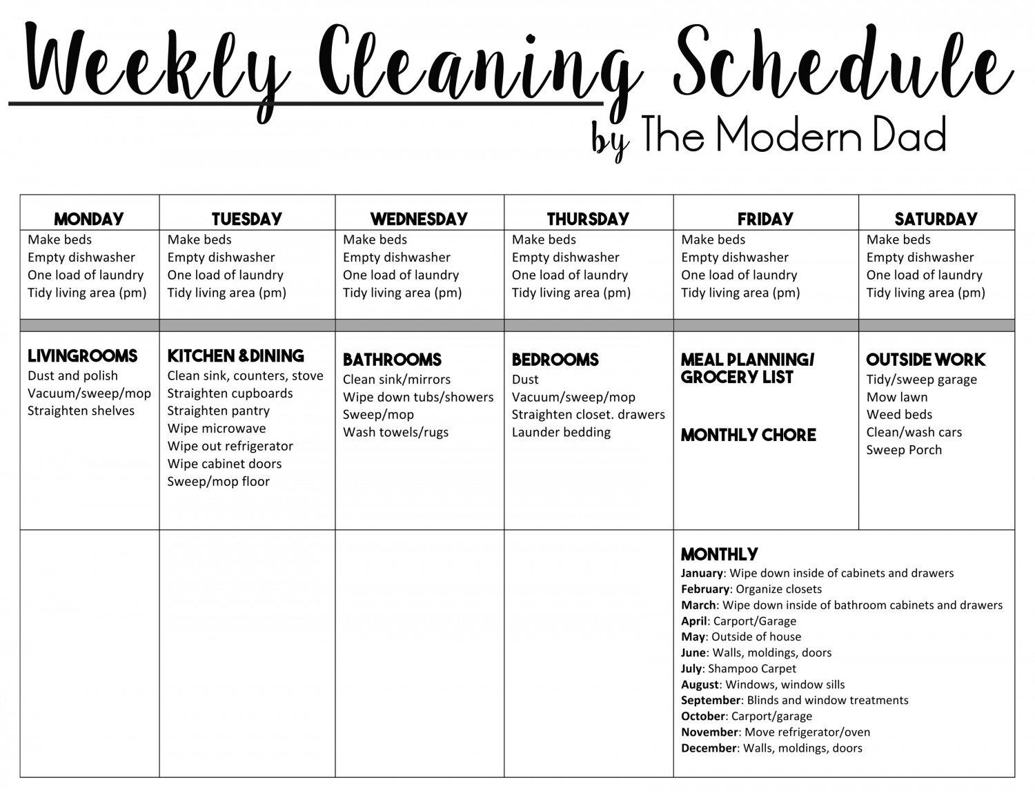Let\'s Make Cleaning Easier | Cleaning Checklist - The Modern Dad